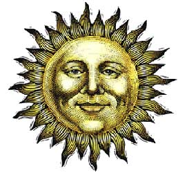 sun with human face illustration